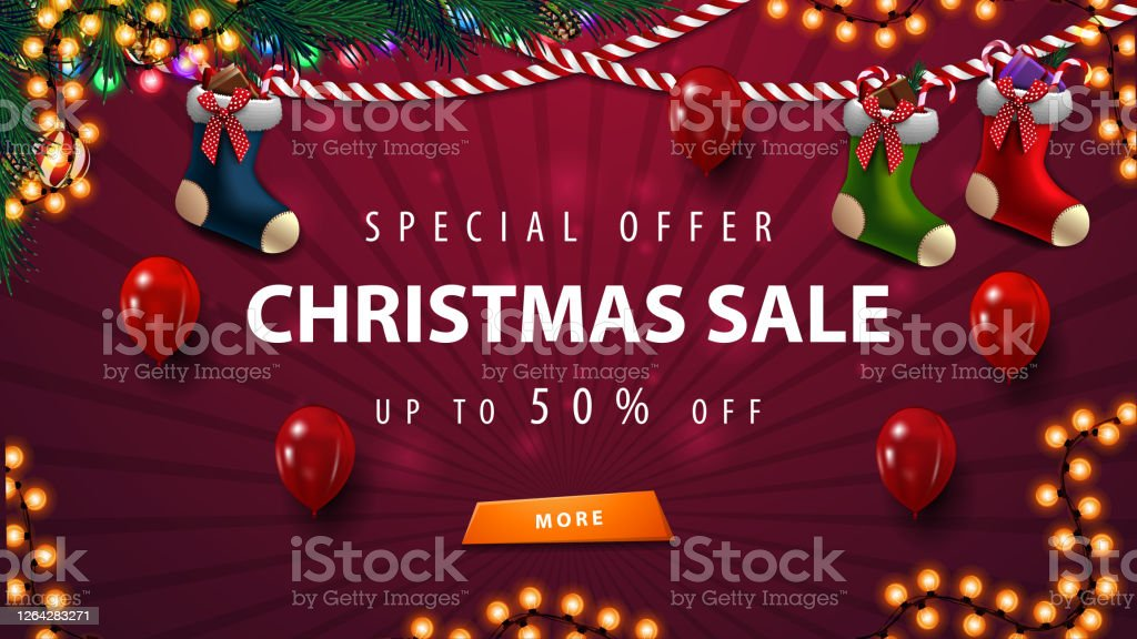 Purple Christmas Sale Template With Garland Balloons And Christmas Stockings Stock Illustration Download Image Now Istock,Country Cottage Decor Uk