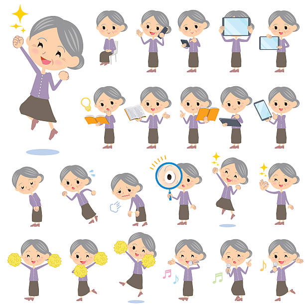 Purple clothes grandmother 2 vector art illustration