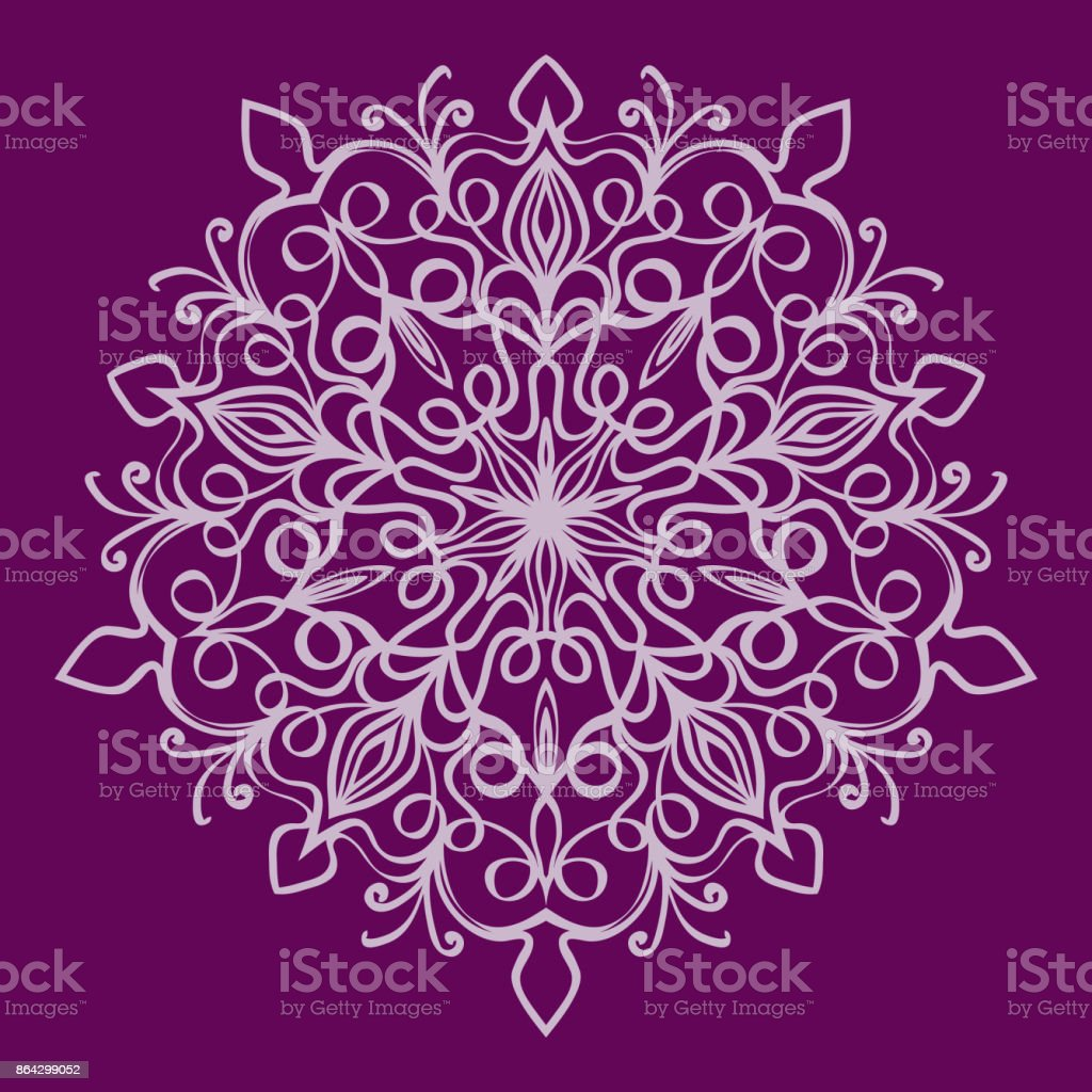 purple color Round Ethnic Pattern. Mandala Ornament. Lacy Snowflake. vector illustration royalty-free purple color round ethnic pattern mandala ornament lacy snowflake vector illustration stock vector art & more images of art