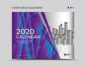 Purple cover Desk calendar 2020 template, presentation, brochure flyer, annual report cover, book, advertisement, printing layout, polygonal background, vector, a4