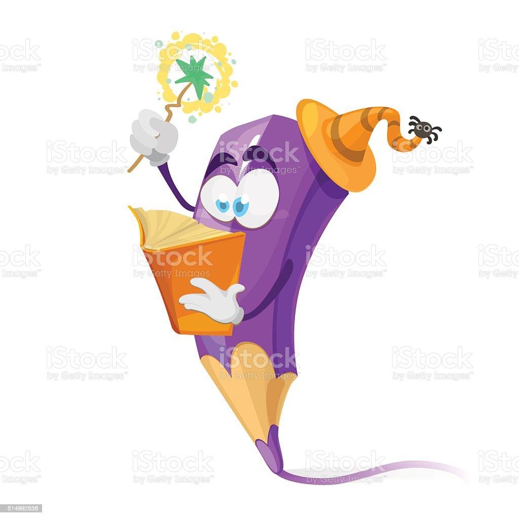 Ilustración de Lápiz De Color Púrpura Dibujos Animados Carácter Usa ...