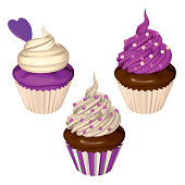 Purple Cupcakes Set Isolated on White Background. Cakes with Blueberry and Creamy Frostings in Purple and White. Vector Realistic Illustration.