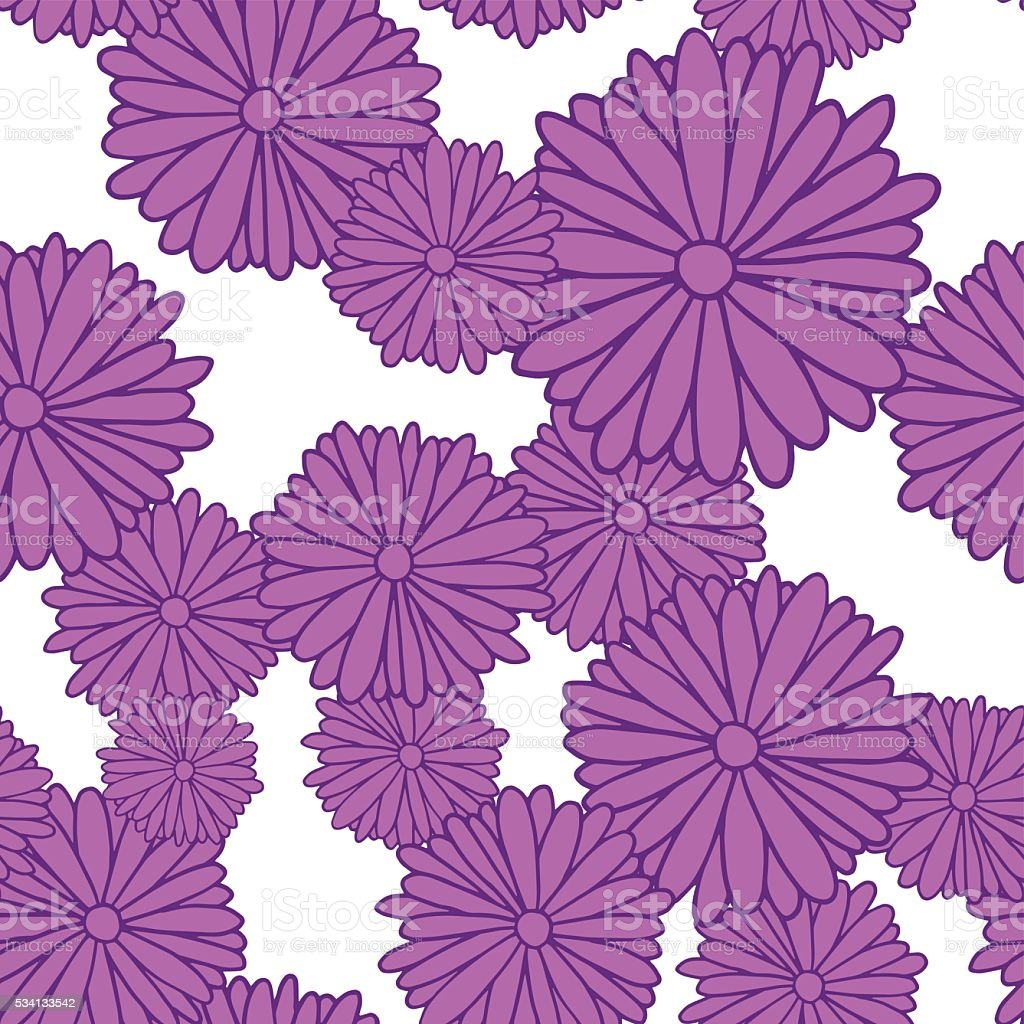 Purple daisies on a white background, seamless pattern vector art illustration