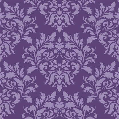 Purple Damask Luxury Decorative Textile Pattern