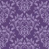 Seamless purple damask luxury decorative textile pattern.