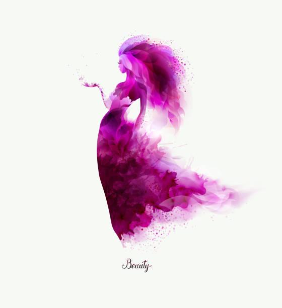 ilustraciones, imágenes clip art, dibujos animados e iconos de stock de composición decorativa morado con chica. lacras magentas forman figura abstracta de la mujer. - moda de mujer