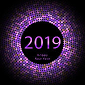 Purple discoball New Year 2019 greeting poster. Happy New Year circle disc with particle. Glitter pink dot pattern. Vector illustration