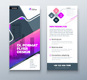 Purple DL Flyer design with square shapes, corporate business template for dl flyer. Creative concept flyer or banner layout