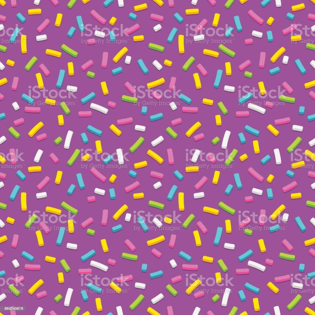 Purple donut glaze with sprinkles seamless pattern vector art illustration