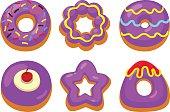 Purple donuts set