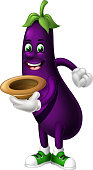 Purple Eggplant Holding Brown Hat Cartoon for your design