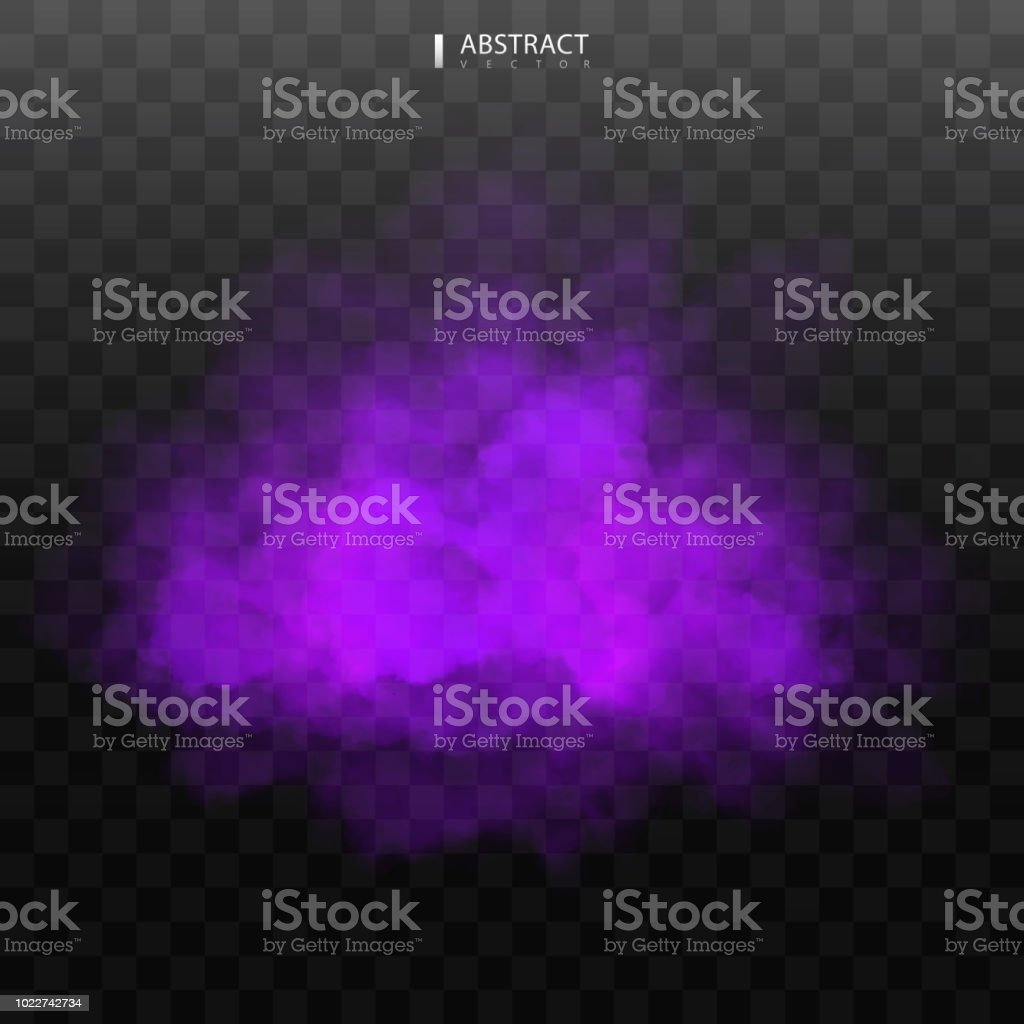 Purple Fog or smoke color isolated transparent special effect. White vector cloudiness, mist smog background. illustration - arte vettoriale royalty-free di Ambiente