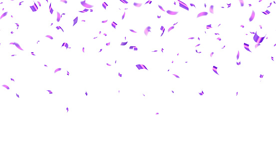 Falling realistic shiny purple foil tiny confetti isolated on white background. Birthday Celebration. Bright festive tinsel of pink, lilac color. Grand opening. Vector seamless illustration
