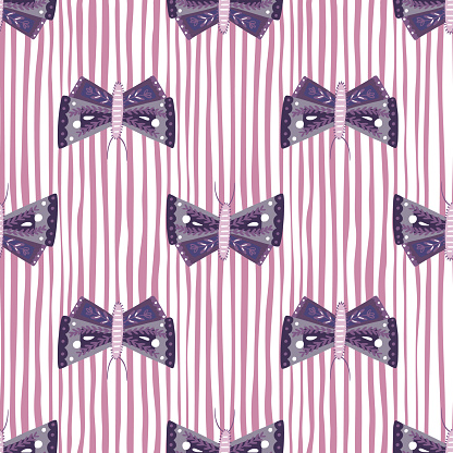 Purple folk butterfly ornament seamless doodle pattern. White and pink striped background. Fauna print.
