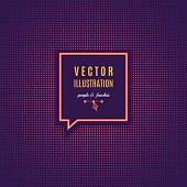 Banner template with place for text, Purple fuschia abstract light background, square halftone. Magenta minimal design of luminous points. Vector texture for a poster music party