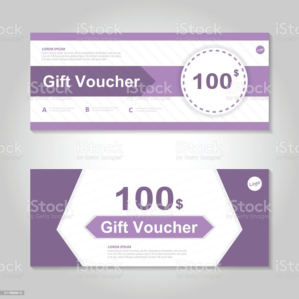 Purple gift voucher template layout design set certificate purple gift voucher template layout design set certificate discount coupon royalty free stock vector yadclub Gallery