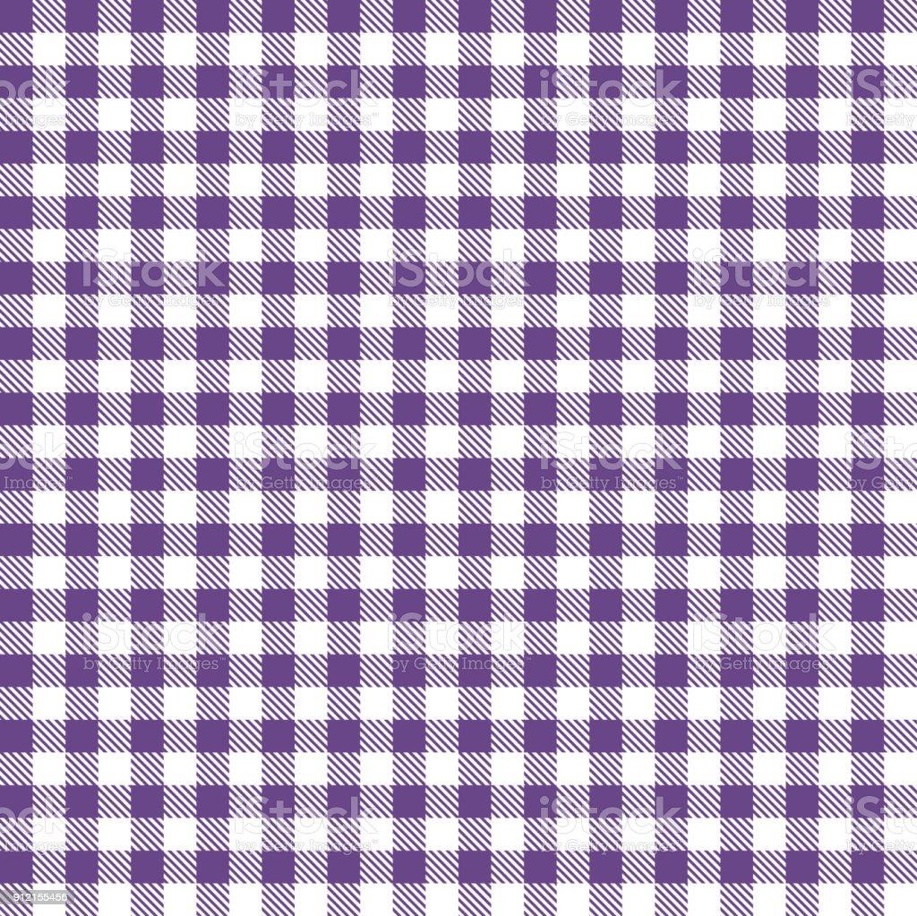 Purple Gingham Cloth Fabric Pattern Vector Art Illustration