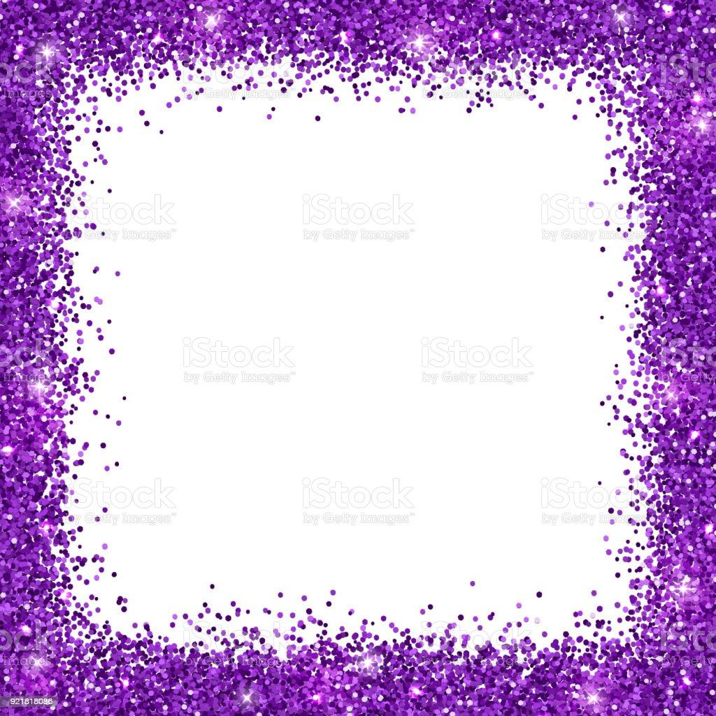 Lila Glitzer Hintergrund Quadratischen Rahmen Vektor Stock Vektor ...
