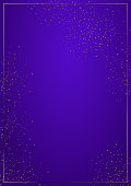 Purple vertical gradient background vector illustration. Elegant colorful wallpaper design. Creative magenta backdrop with thin geometric border and golden confetti. Glossy banner with copy space