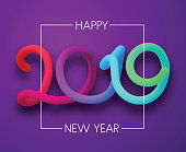 Purple Happy New Year 2019 card with colorful neon figures. Vector background.