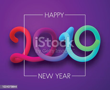 purple happy new year 2019 card with neon figures stock vector art more images of