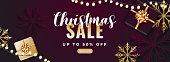 Purple header or banner design decorated with top view of gift boxes, snowflakes and 50% discount offer for Christmas Sale.