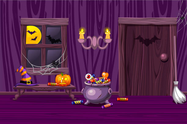 purple house, illustration interior wooden room with halloween symbols - halloween candy stock illustrations