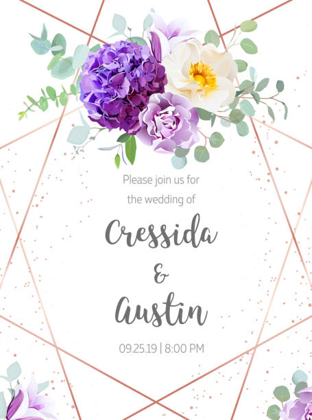 Purple hydrangea, violet carnation, wild rose, bell flower, eucalyptus Floral geometrical vector design frame. Purple hydrangea, violet carnation, wild rose, bell flower, eucalyptus, greenery. Spring wedding card.Art deco style. Gold line art. All elements are isolated wild rose stock illustrations