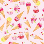 Purple icecream cones and cupcakes with roses watercolor seamless vector pattern