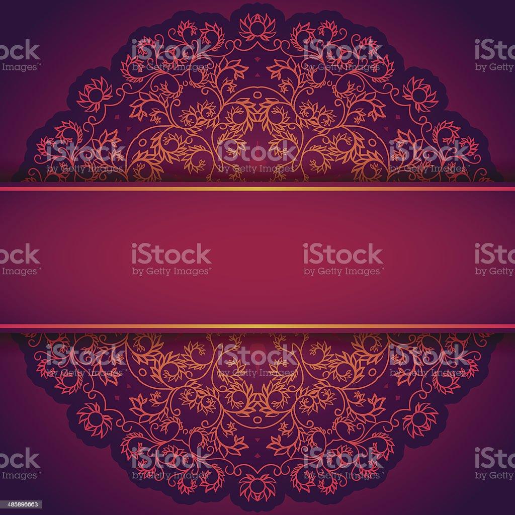 Violet invitation avec ornement floral de dentelle - Illustration vectorielle