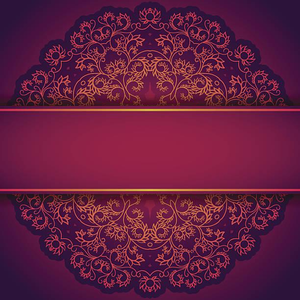 Purple Einladung mit Spitze und floralen ornament – Vektorgrafik