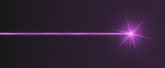 Purple laser beam light effect isolated on transparent background