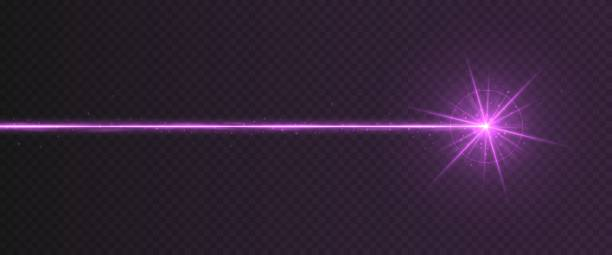 Purple laser beam light effect isolated on transparent background Purple laser beam light effect isolated on transparent background. Violet neon light ray with sparkles. laser stock illustrations