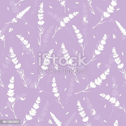 Purple lavender silhouettes seamless repeat pattern. Beautiful violet lavender retro background. Elegant fabric on light background Surface pattern design.