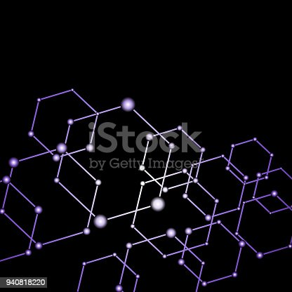 istock Purple light connected dots abstract background 940818220