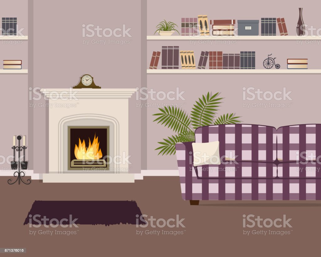 Purple Living Room With Fireplace And Checkered Sofa Royalty Free Stock  Vector Art