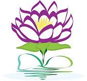 Purple lotus flower image frame icon vector design