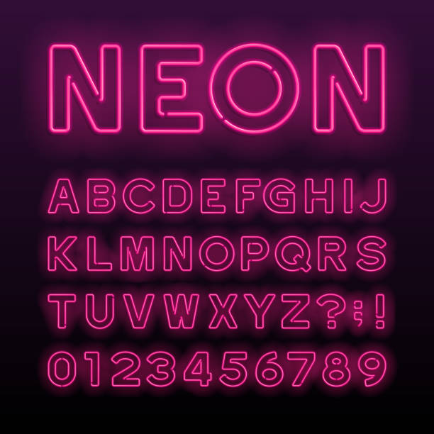 fioletowa neonowa czcionka alfabetu. neonowe kolorowe litery. - neon stock illustrations