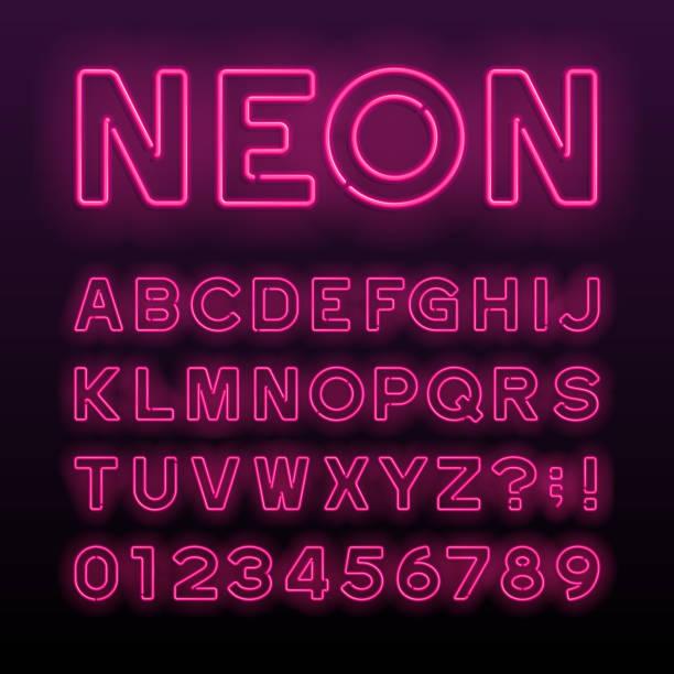 자주색 네온 튜브 알파벳 글꼴입니다. 네온 컬러 편지입니다. - 형광색의 stock illustrations