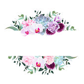 Horizontal botanical vector design banner. Purple orchid, pink rose, hydrangea, campanula,carnation, succulent, parvifolia, true blue eucalyptus. Isolated on white background.All elements are editable