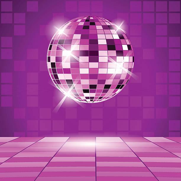 violett partei hintergrund mit disco ball - spiegelfliesen stock-grafiken, -clipart, -cartoons und -symbole