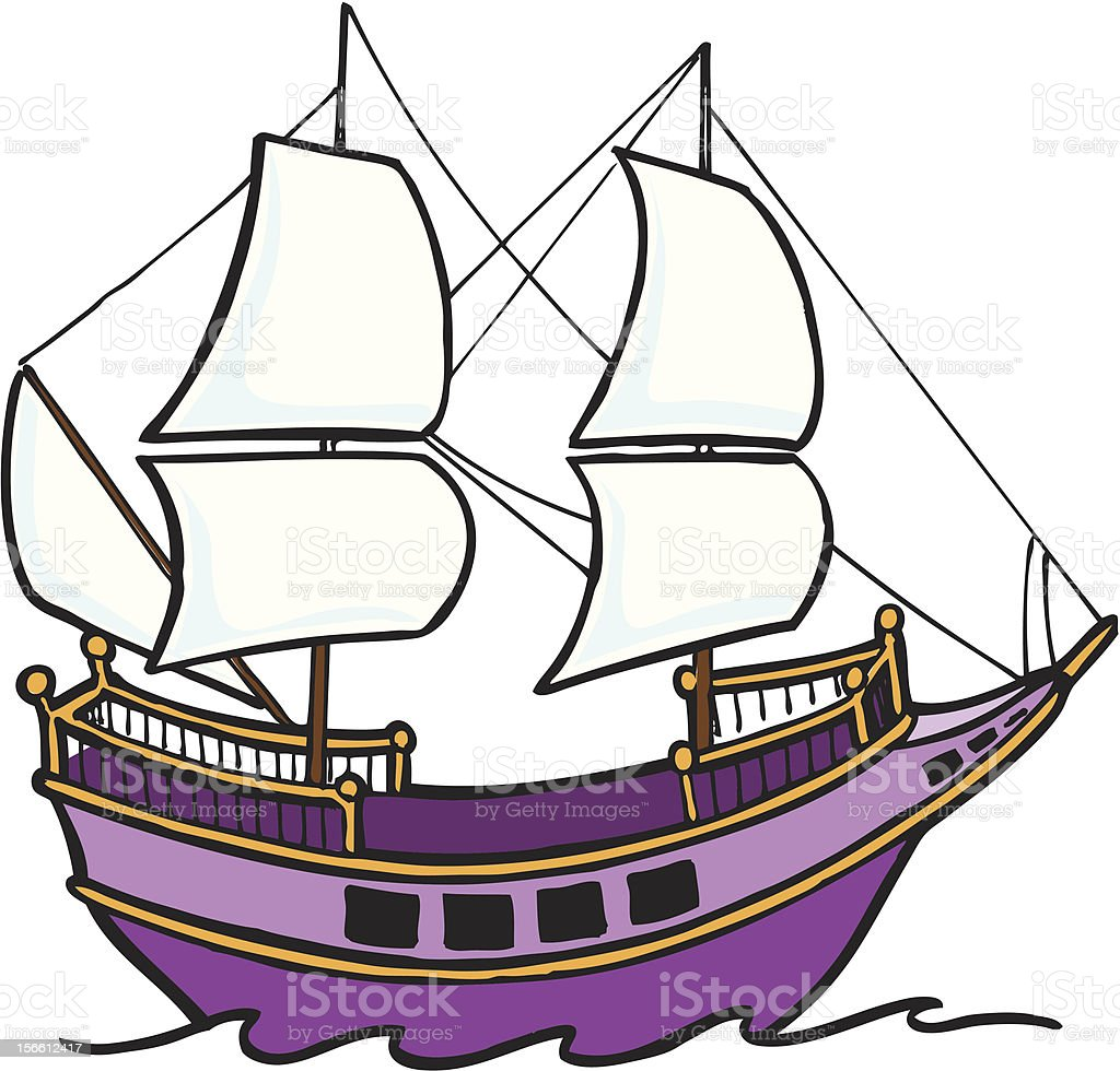 Purple pirate ship royalty-free stock vector art