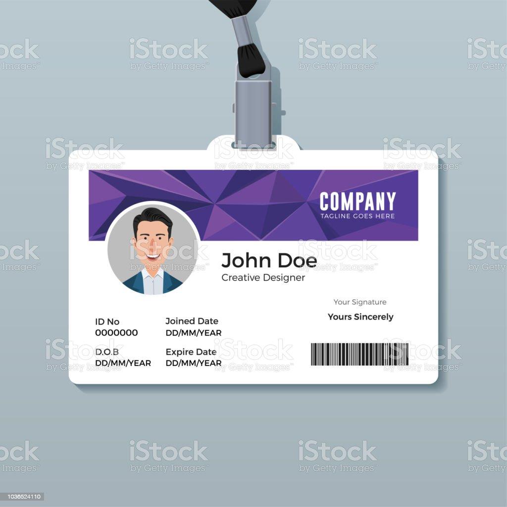 purple polygon id card template royalty free purple polygon id card template stock vector art