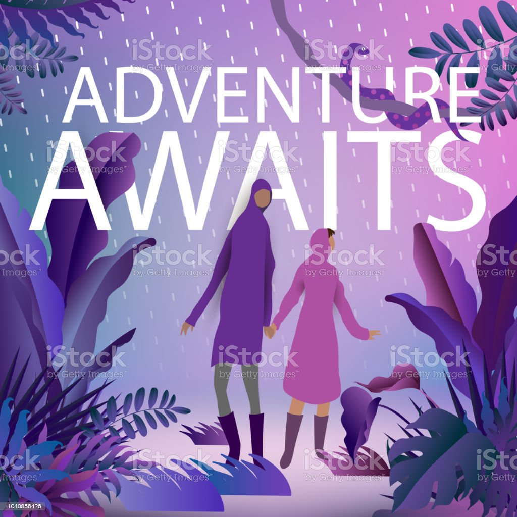 Purple poster of wanderlust the adventure awaits with  couple in tropical jungle outdoor landscape vector art illustration