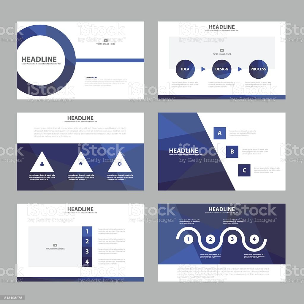 Purple presentation templates Infographic elements flat design set vector art illustration