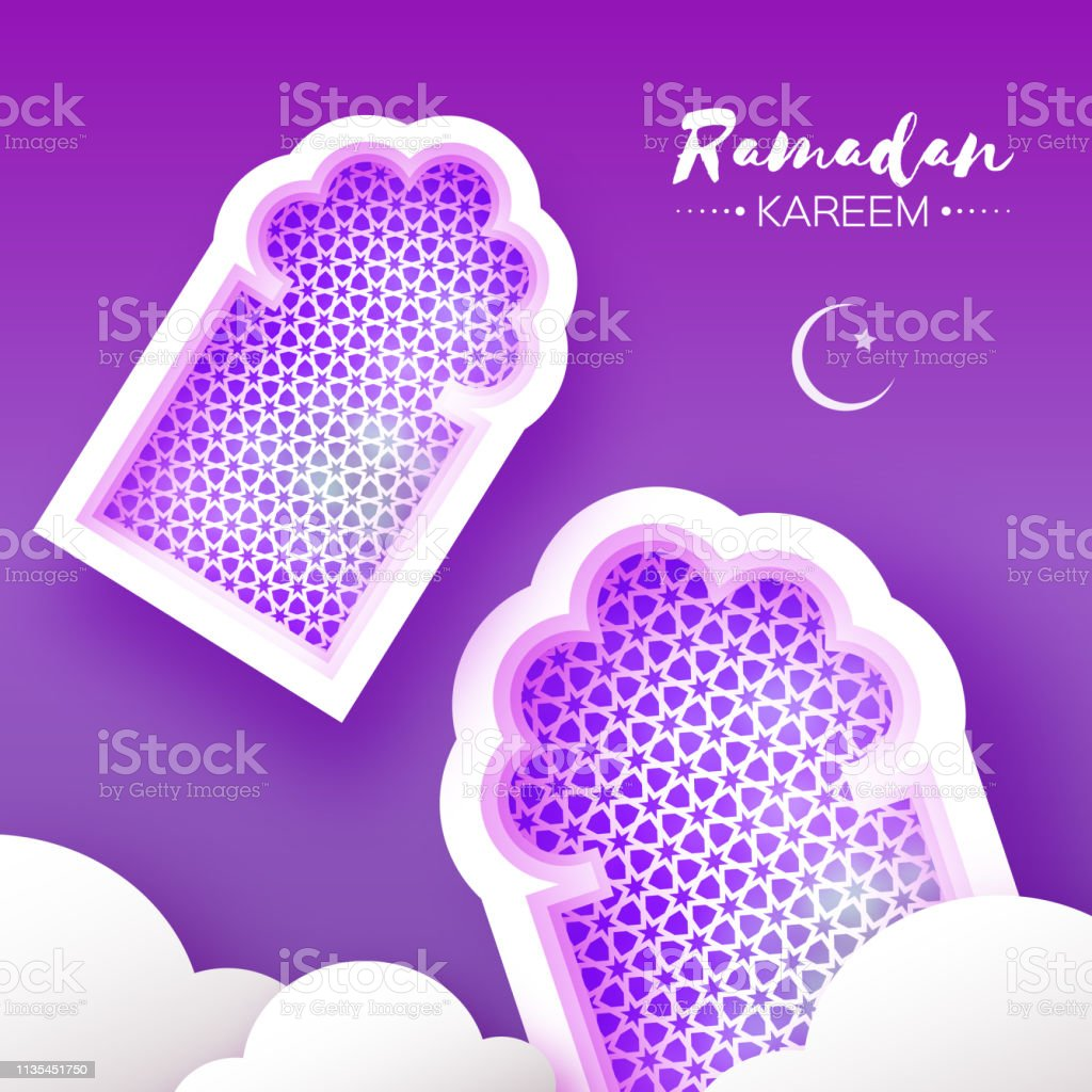 Purple Ramadan Kareem. 2 Origami Mosque Window. Holy month. Paper cut Cloud. Space for text vector art illustration