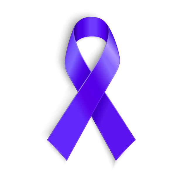 purple ribbon as symbol of cancer awareness, drug overdose, domestic - domestic violence stock illustrations