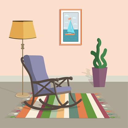 purple rocking chair in the interior with a striped carpet floor lamp and a painting on the wall