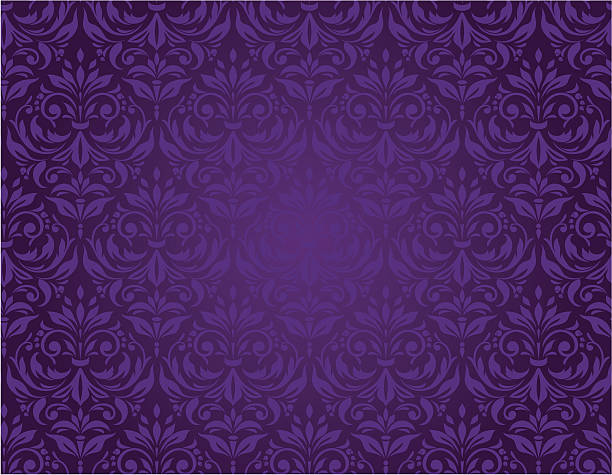 Purple seamless floral pattern with a vintage design vector art illustration