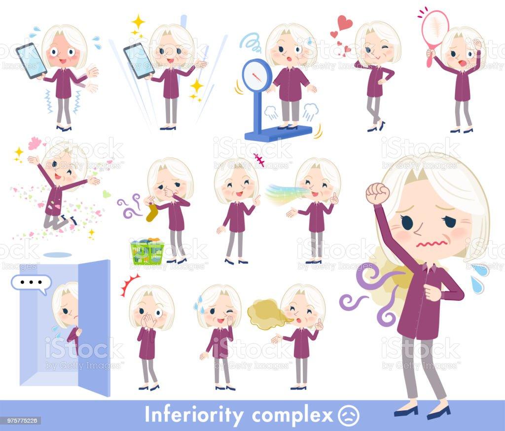 purple shirt old women White_complex vector art illustration